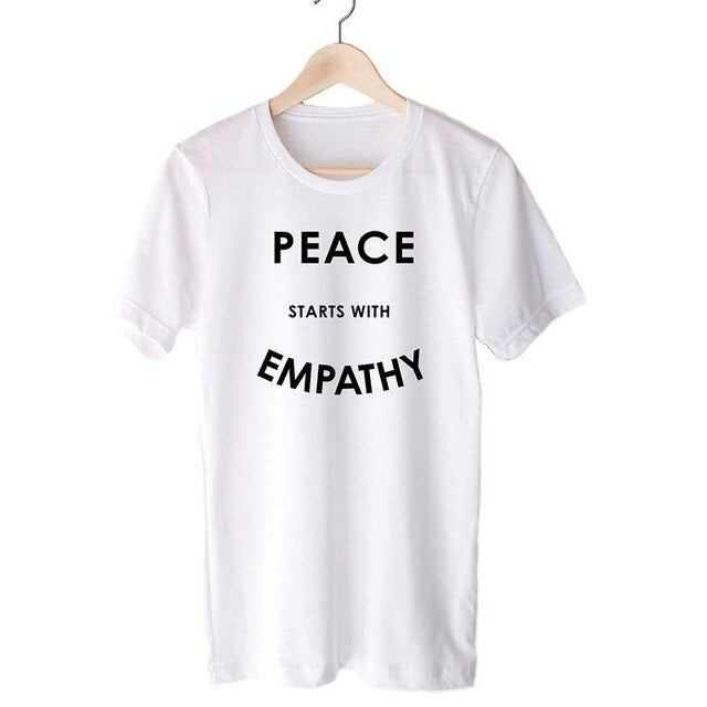"""Peace Starts With Empathy"" Unisex Tee  - White / L - Project Love Back"