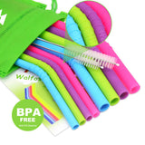 10 Piece Reusable BPA free Silicone Drinking Straw Set  - [variant_title] - Project Love Back