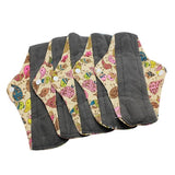 5 Bamboo Charcoal Reusable Sanitary Pads  - Print 1 / L - Project Love Back
