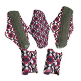 5 Bamboo Charcoal Reusable Sanitary Pads  - Print 4 / L - Project Love Back