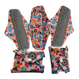 5 Bamboo Charcoal Reusable Sanitary Pads  - Print 5 / L - Project Love Back