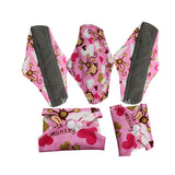 5 Bamboo Charcoal Reusable Sanitary Pads  - Print 6 / L - Project Love Back