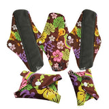 5 Bamboo Charcoal Reusable Sanitary Pads  - Print 8 / L - Project Love Back