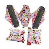 5 Bamboo Charcoal Reusable Sanitary Pads  - Print 9 / L - Project Love Back