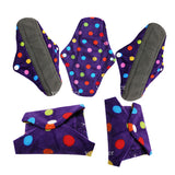 5 Bamboo Charcoal Reusable Sanitary Pads  - Print 11 / L - Project Love Back