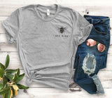 """Bee Kind"" Pocket Print Tee  - Gray / S - Project Love Back"