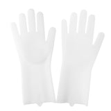 Silicone Scrubber Rubber Cleaning Gloves  - White - Project Love Back