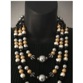 Tricolor Pearl & Cristals layers Necklace