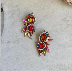 Oval multicolor cristals earings