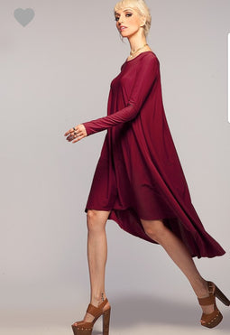 Burgundy Hi low sleeves dress