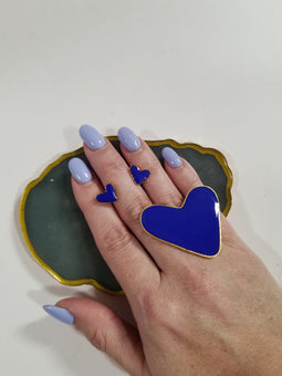 Blue Heart Ring & Earings set