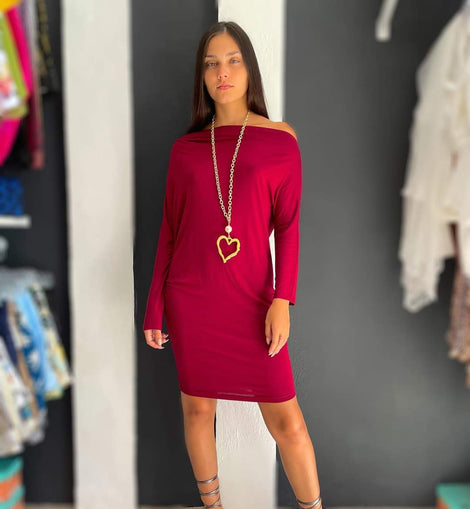 Red Burgundy Asymetric dress