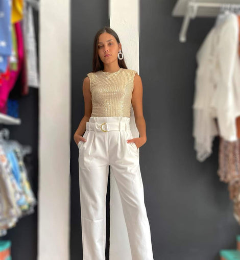 White Belted Crop pants