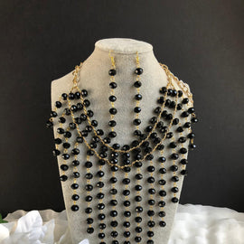 Regina Black Chandelier necklace set