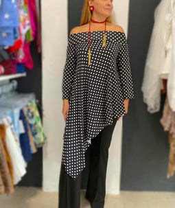 Black Polka dots Asymetric tunic