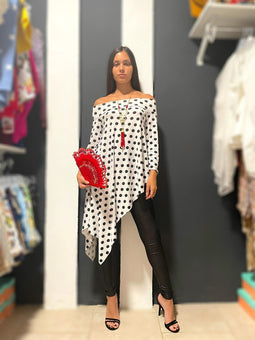 White Polka dots Asymetric tunic