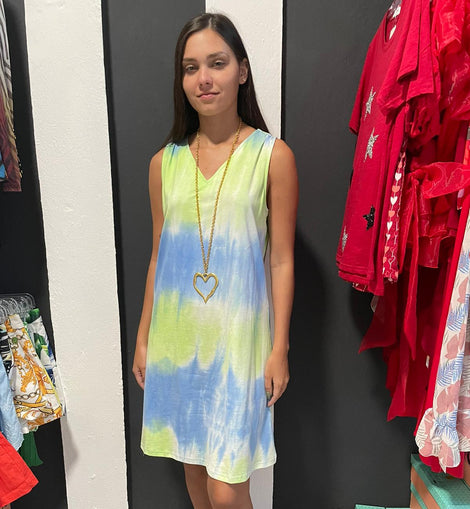 Blue mix tie Dye dress