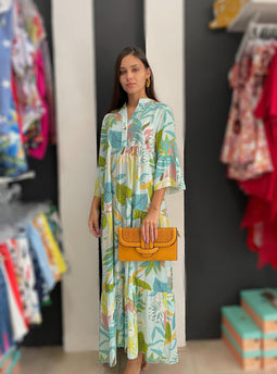 Turquoise Leaves Mix Maxidress