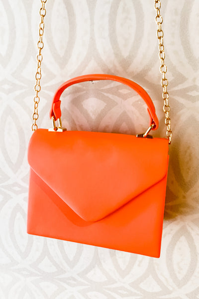 Faux Leather Coral Clutch