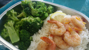 Orange Sriracha Shrimp over Rice w/Steamed Broccoli