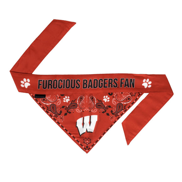 Wisconsin Badgers Pet Reversible Paisley Bandana