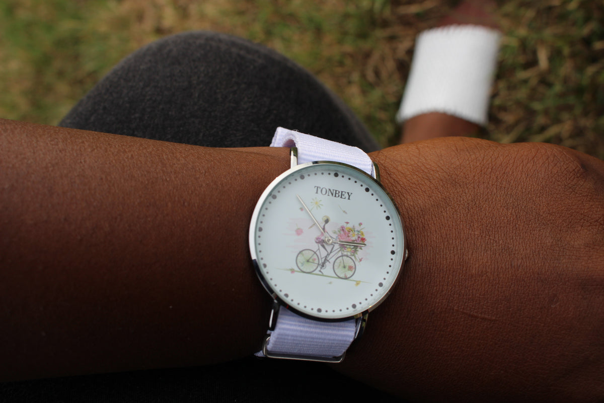 Bicycle floral silver watch