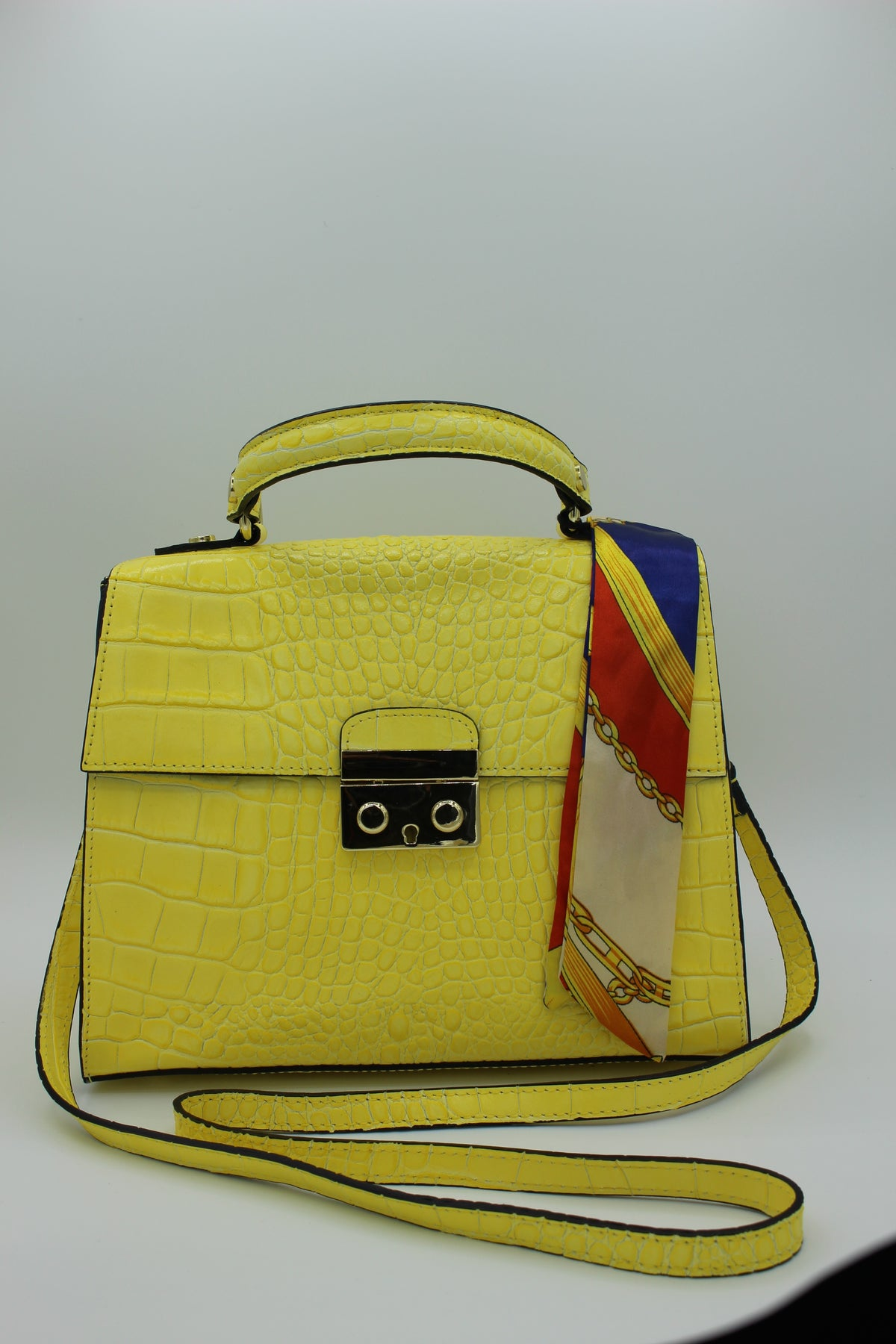 Yellow Crocodile embossed leather bag with scarf accessory