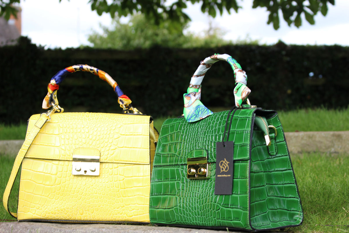 Green and Yellow Crocodile embossed leather bags