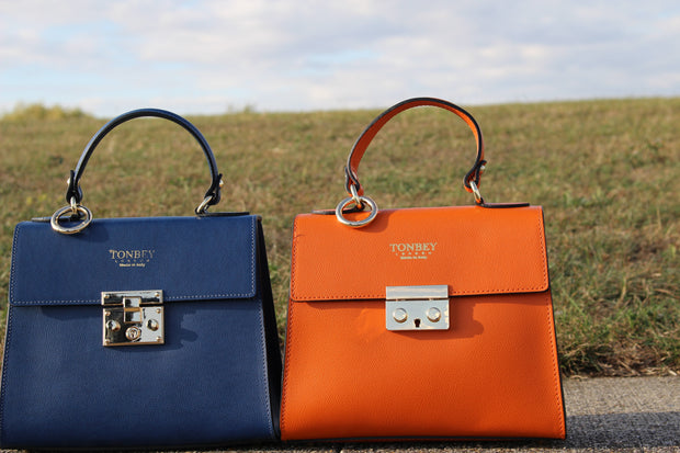 Kelly Midi Bovine Leather bags in blue and orange