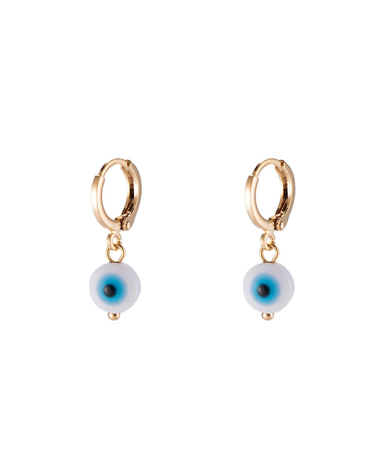 Love blue-eyed small loop earrings