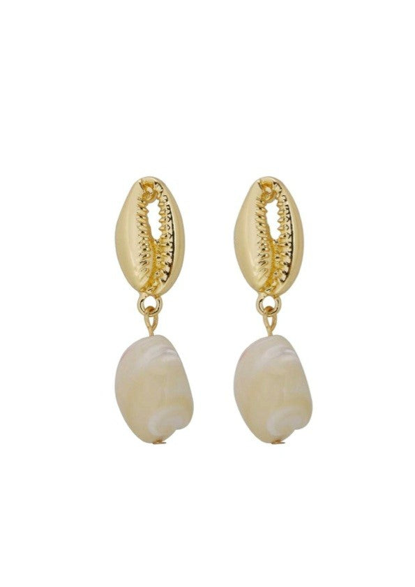 Shalom Pearl Drop Shell Earrings (gold)