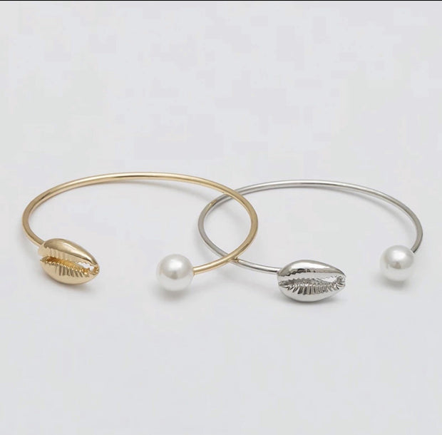 Gold plated and Sterling silver Faux pearl bangle