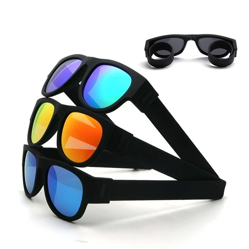 Fancy Polarized Folding Sunglasses | Wristband Design - neon-circle