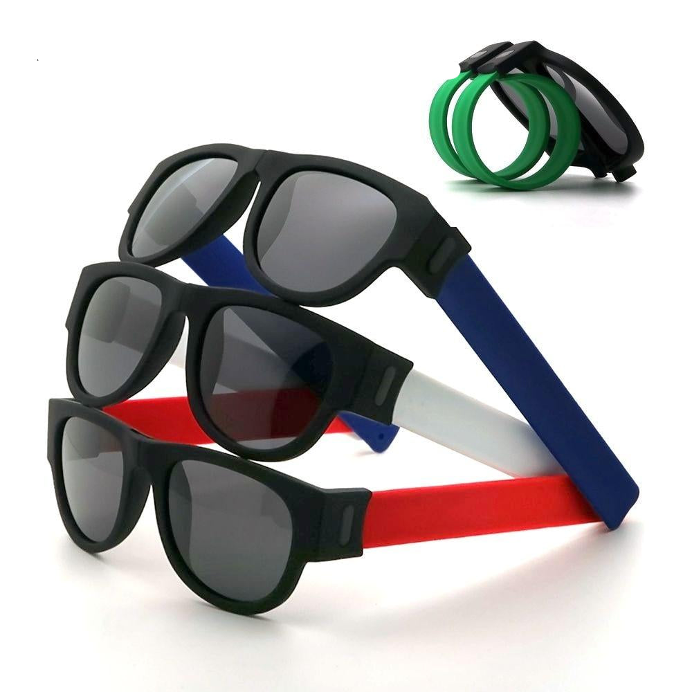 Fancy Polarized Sunglasses | Wristband Design, Slap to Go! - neon-circle