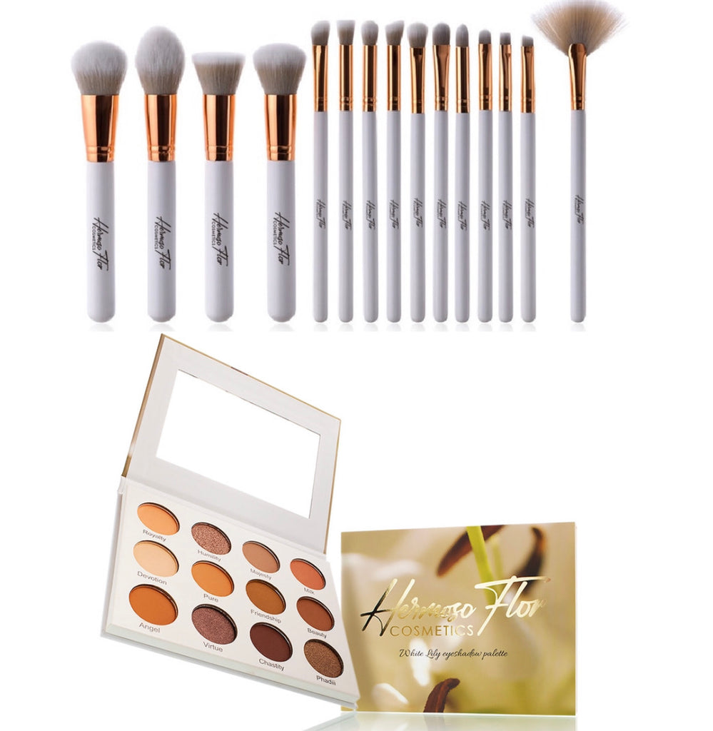 White Lily Eyeshadow Palette + 15 Set Make-up Brush set
