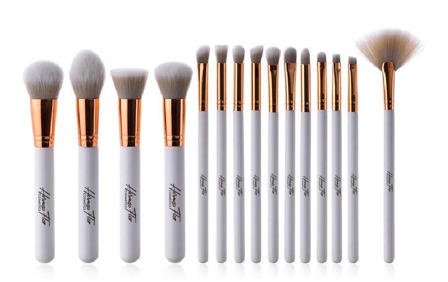 HERMOSA FLOR White and Rose gold Make up brush set