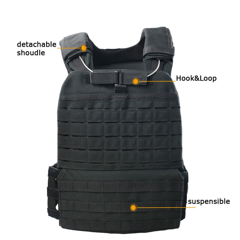 Quick Released Black Laser Cut Tactical Military Molle Heavy Plate Carrier Vest
