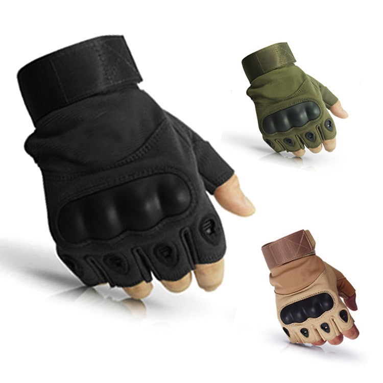 Men's Army Military Tactical Hard Knuckle Half finger Gloves