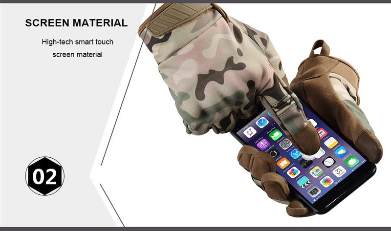 Touch Screen Waterproof Fleece Tactical Army Combat Gloves