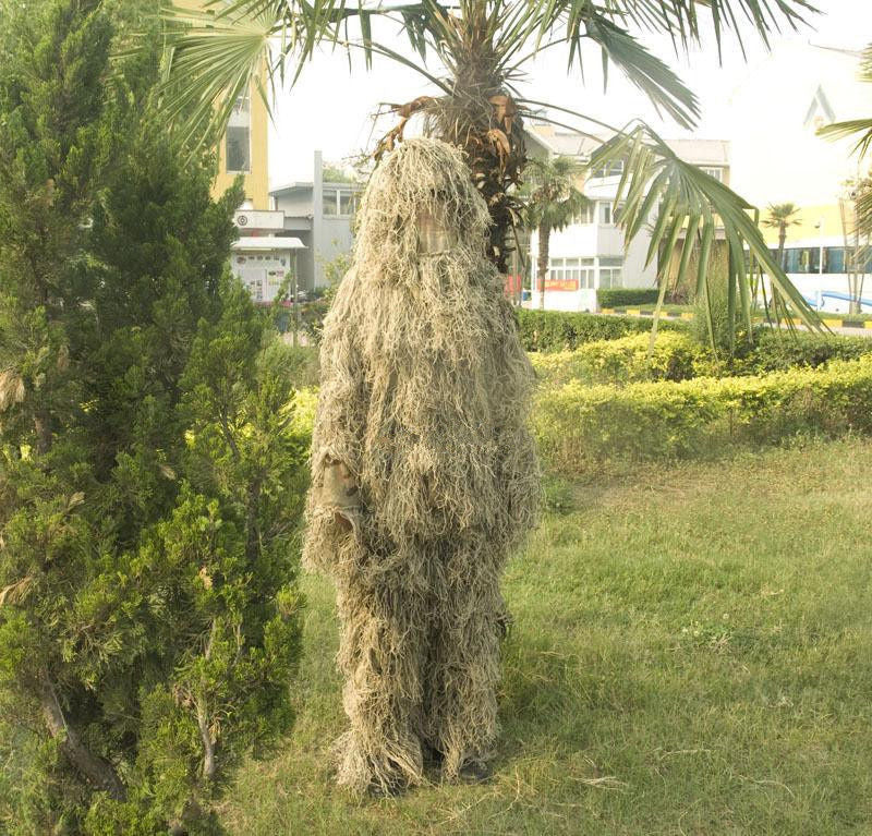 Military Desert Camouflage Ghillie Suit Sniper Camo Clothing 5pcs Set for Outdoor