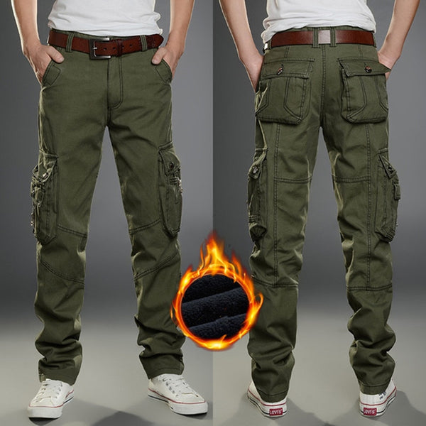 Winter Thicken Fleece Cargo Pants Men's Double Layer