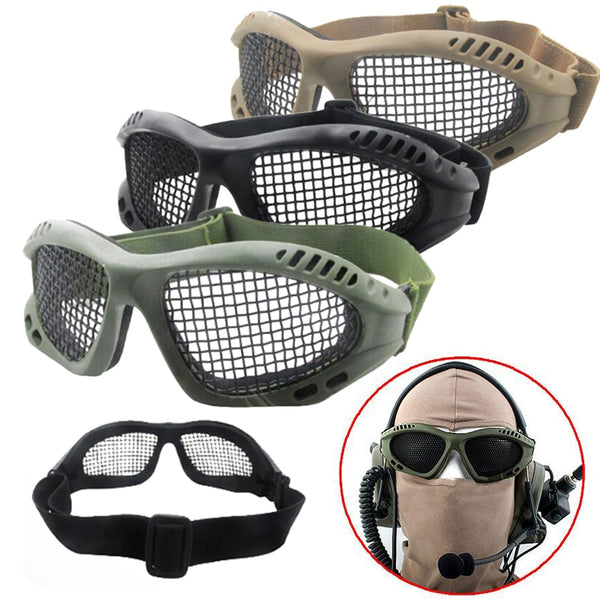 Steel Wire Mes Net Hunting Tactical  Goggles Eyewear