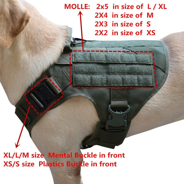 MXSLEUT Tactical Dog Vest Breathable military dog clothes K9 harness adjustable size