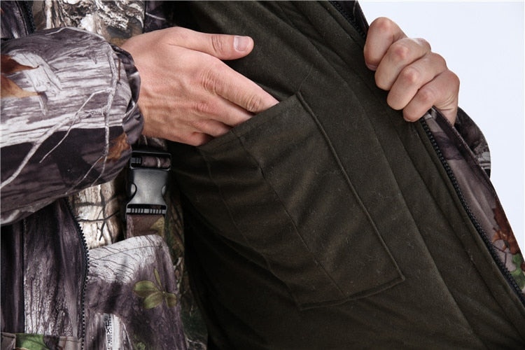 Bionic Leaves Camouflage Suits Jacket Pants Set Men Winter Thicken Hooded Cotton Hunting Clothes