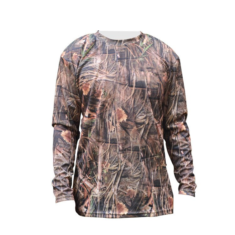 Bionic Tree Reed Camouflage T-shirt Polyester Long Sleeve Quick Dry Wear