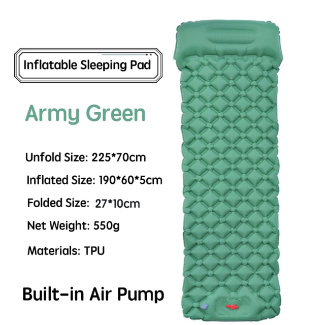 Outdoor Sleeping Pad Camping Inflatable Mattress with Pillows Travel Mat Folding Bed Ultralight Air Cushion Hiking Trekking
