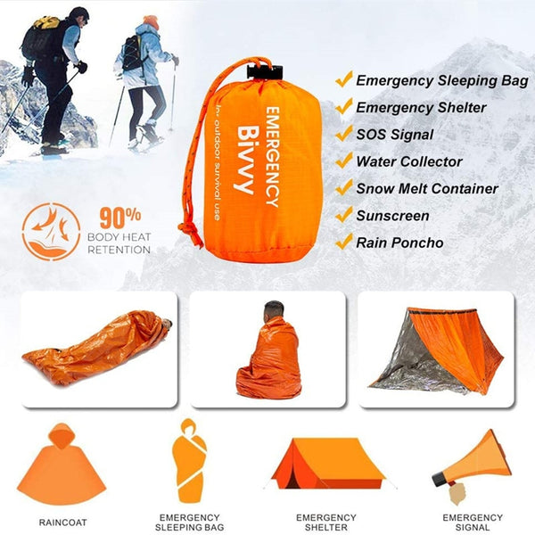 Compact Bivy Sack Emergency Survival Sleeping Bag Portable Waterproof Reusable Thermal Sleeping Bags Mylar Survival Blanket