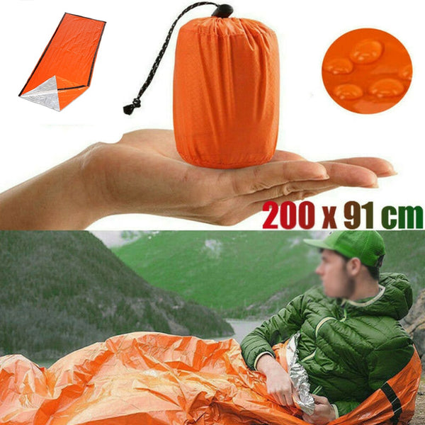 2 Pcs Outdoor Emergency Sleeping Bag Thermal Survival outdoor Camping Travel Bags Waterproof Winter Autumn Picnic Pad Anti-cold