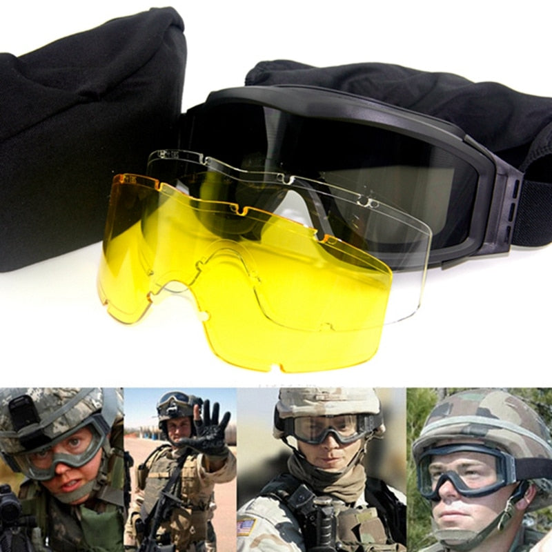 Top Quality Military  Tactical Goggles GX1000 Black 3 Lens