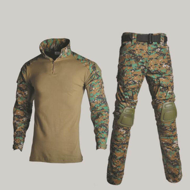 Military Uniform Shirt + Pants With Knee Elbow Pads